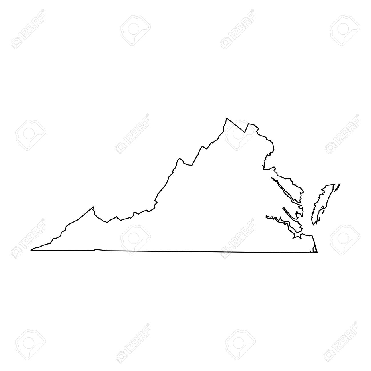 Virginia State Of Usa Solid Black Outline Map Of Country Area
