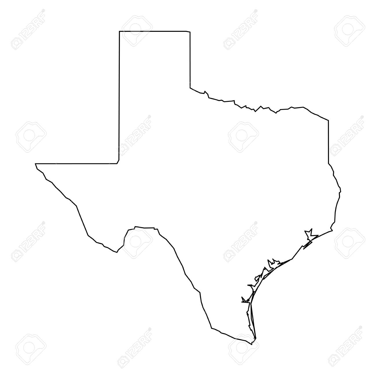Texas State Of Usa Solid Black Outline Map Of Country Area
