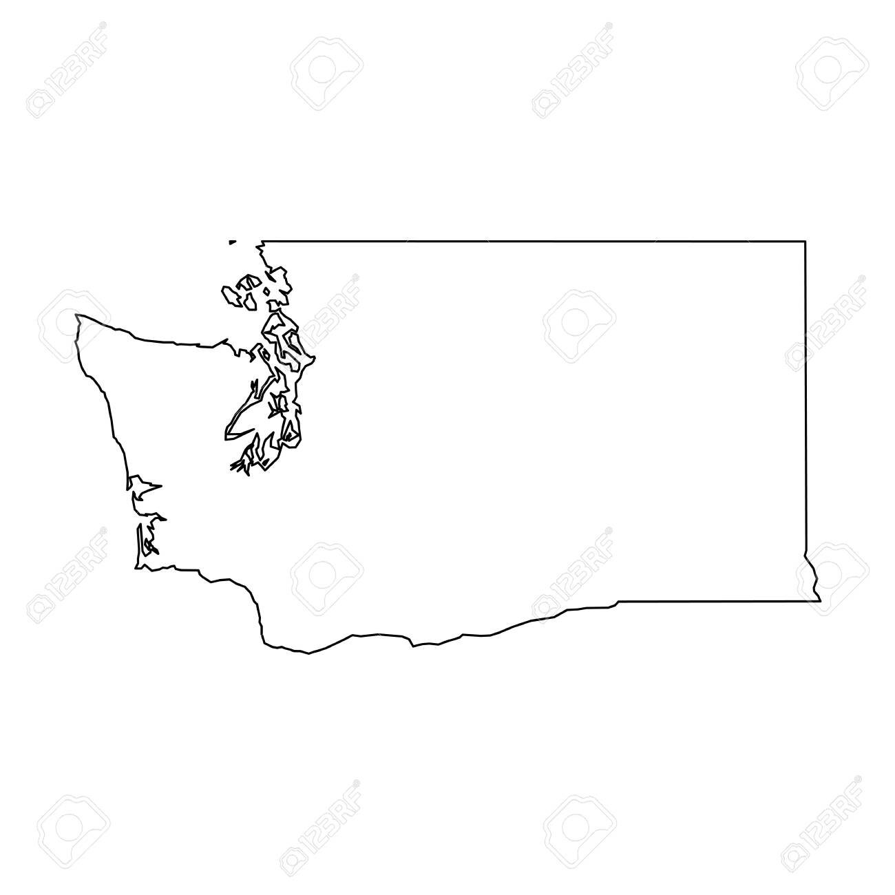 Washington, state of USA - solid black outline map of country area. Simple flat vector illustration. - 124448025