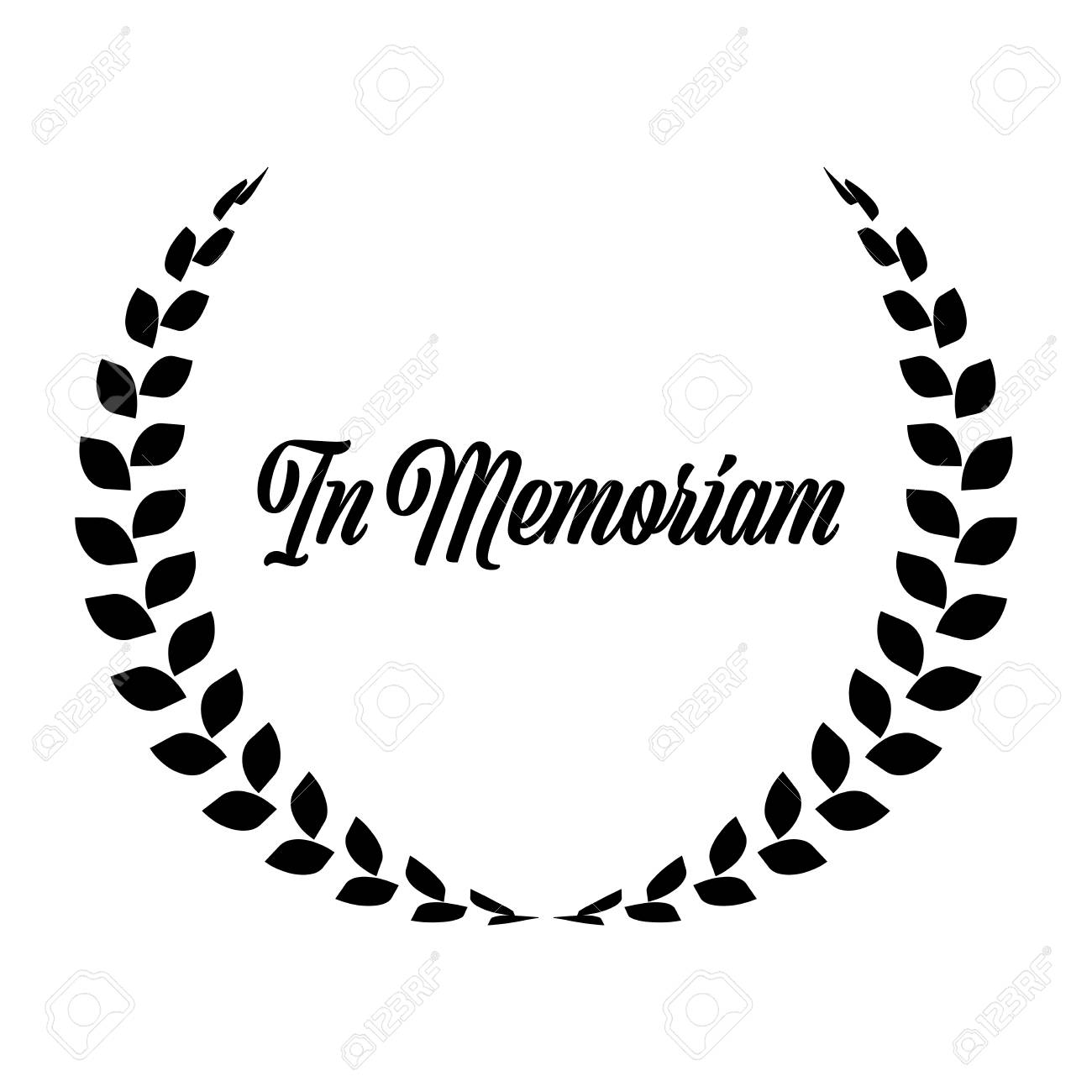 Funeral wreath with In Memoriam label. Rest in peace. Simple flat black illustration. - 119579287