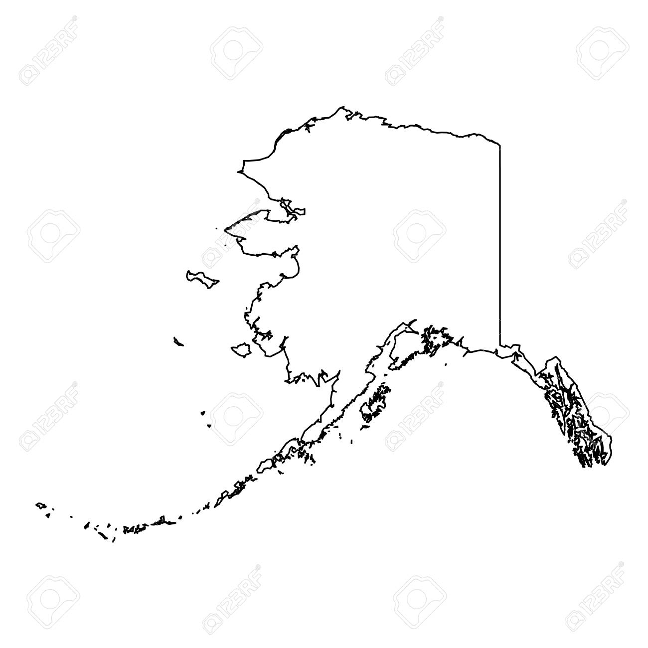 Alaska State Of Usa Solid Black Outline Map Of Country Area