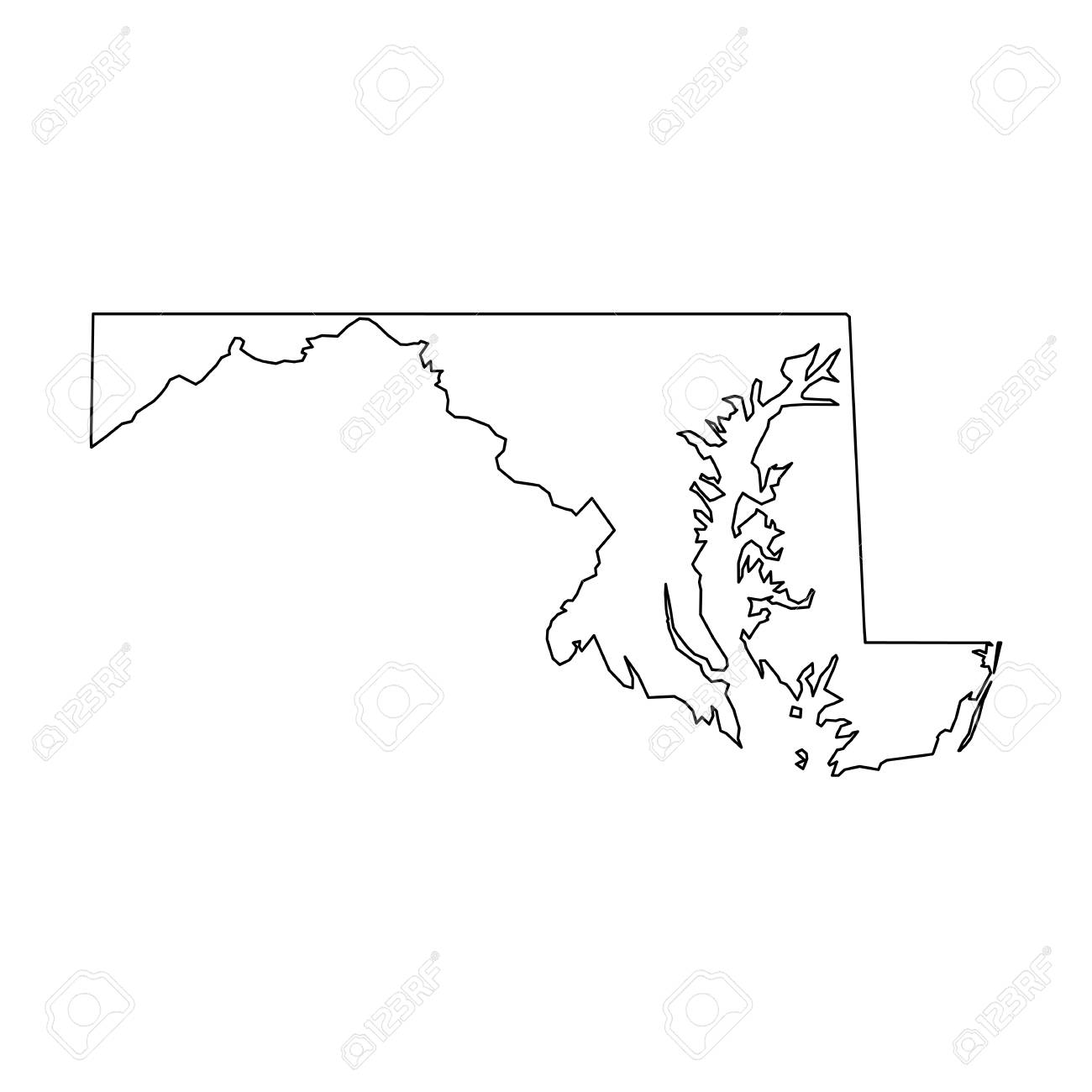 Maryland State Of Usa Solid Black Outline Map Of Country Area
