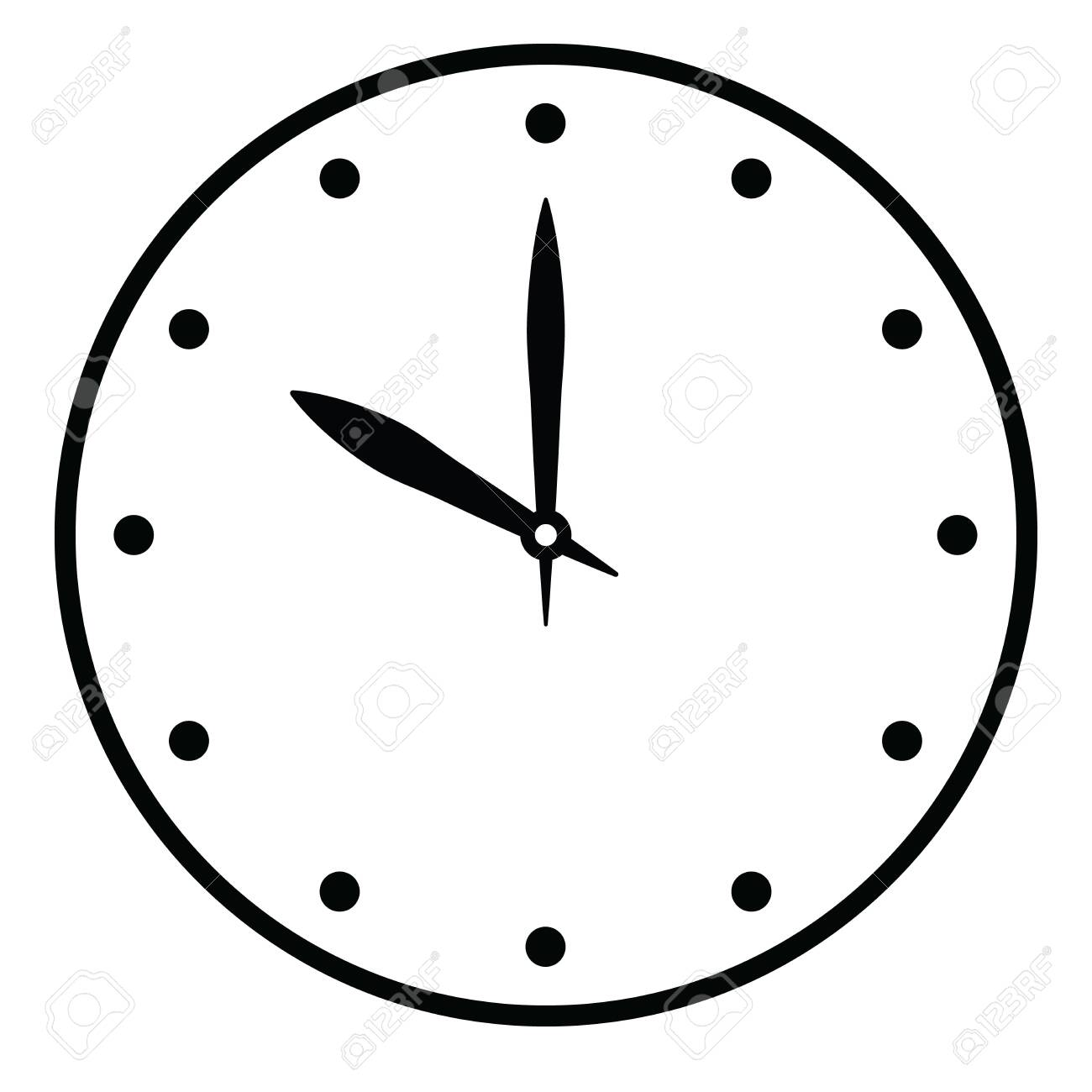 Clock face. Blank hour dial with hour and minute hand. Dots mark hours. Simple flat vector illustration. - 124097263