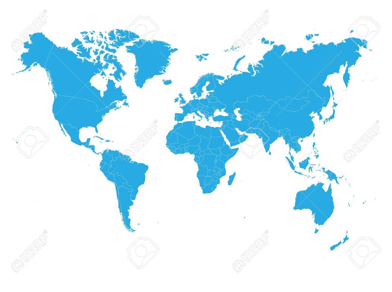 Blue World map on white background. High detail blank political. Vector illustration. - 123689026