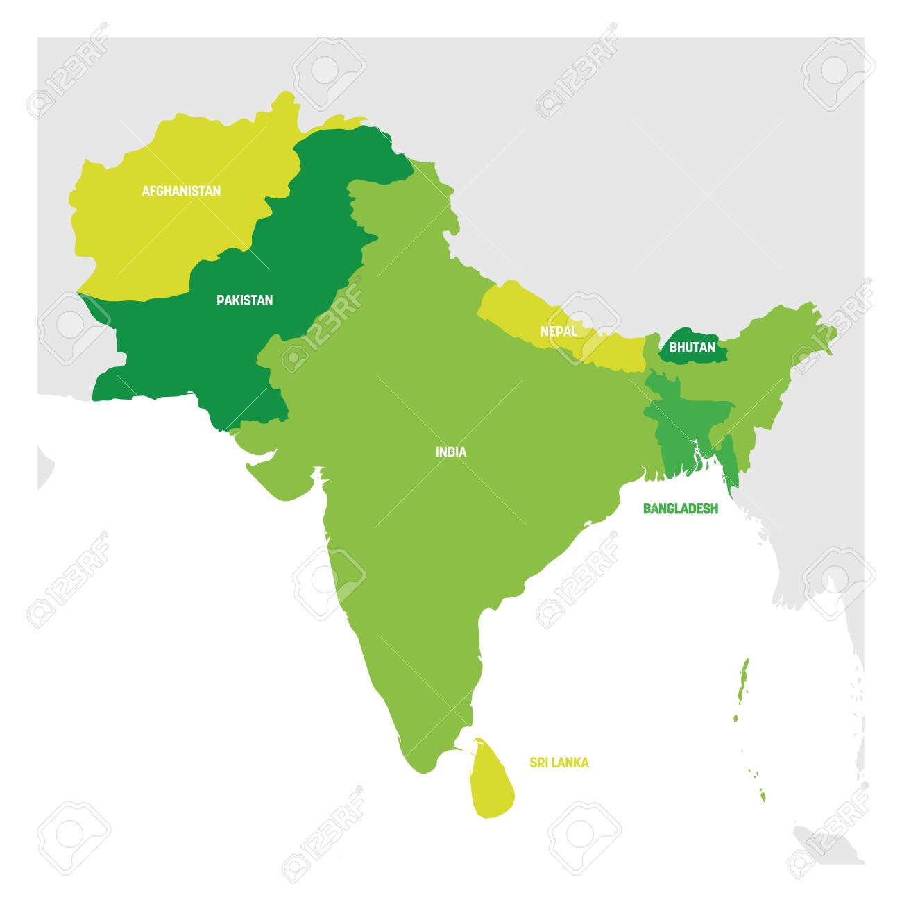 South Asia Region. Map of countries in southern Asia. Vector..