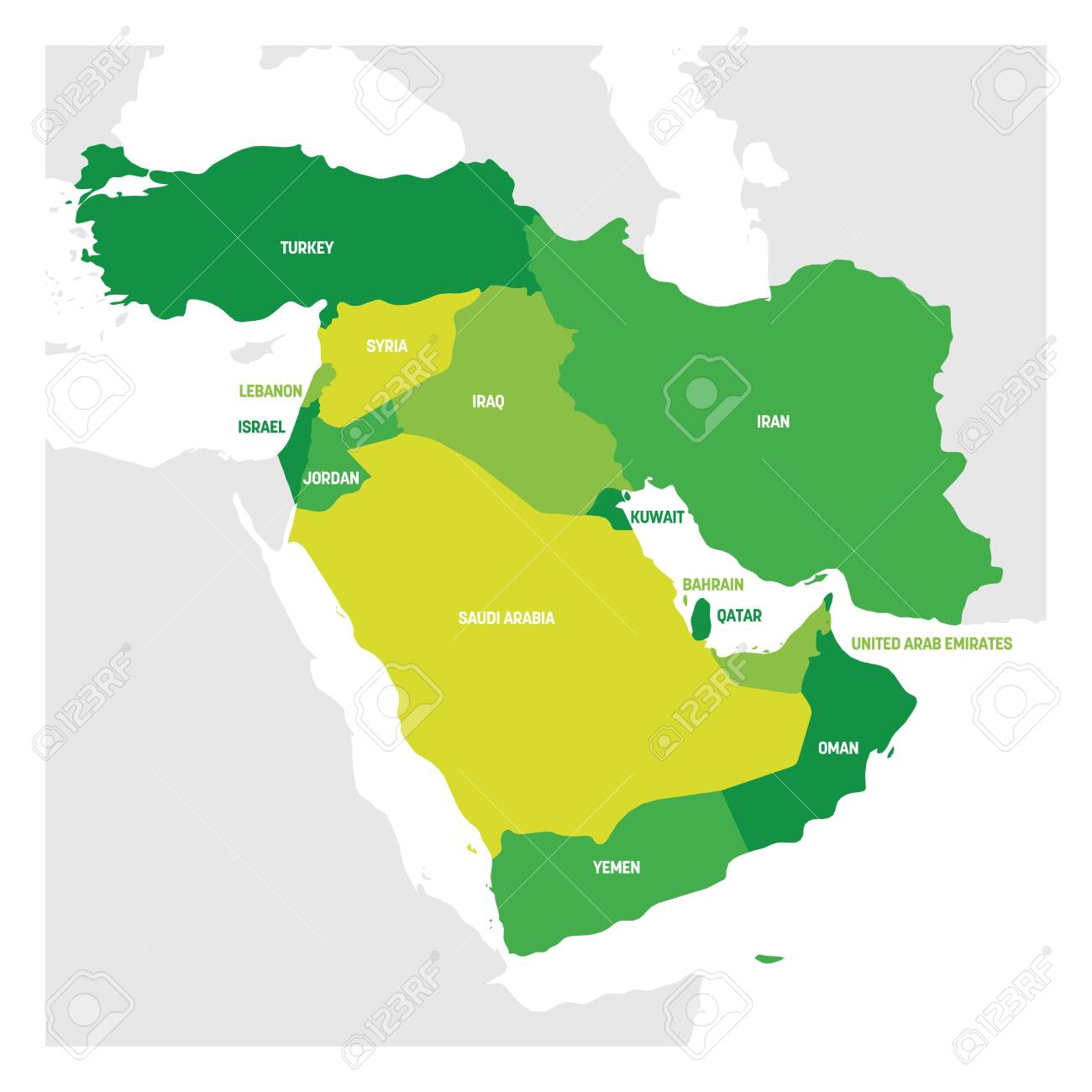 West Asia Region. Map of countries in western Asia or Middle..