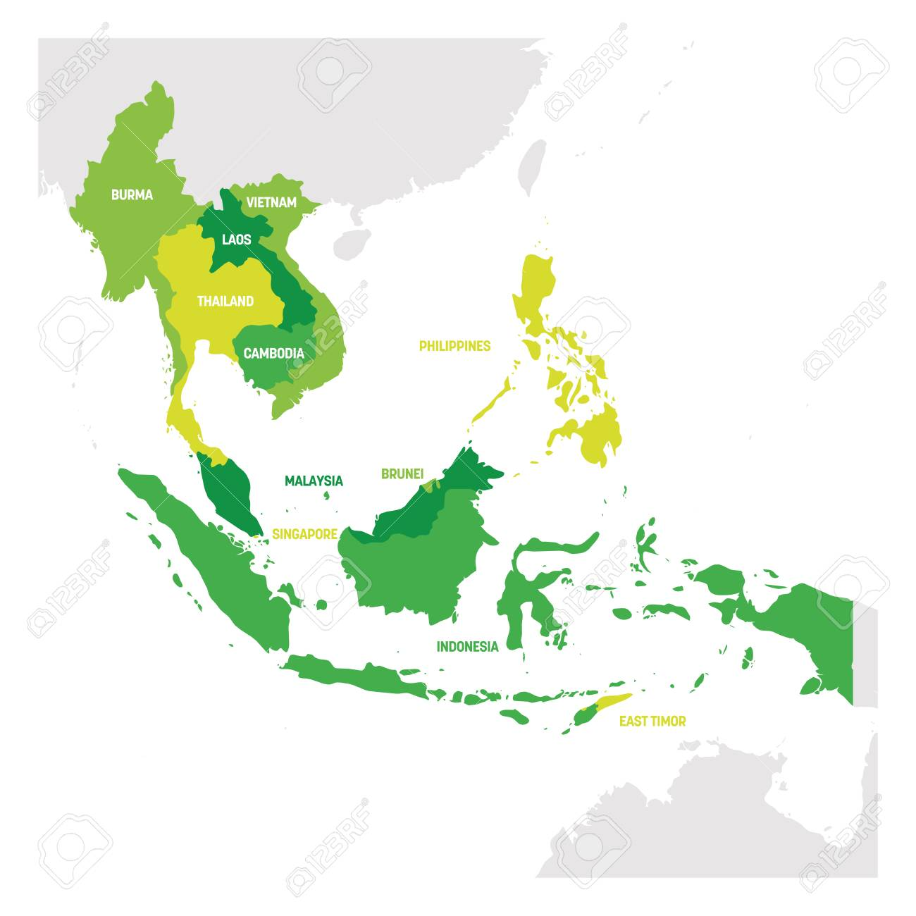 Southeast Asia Region. Map of countries in southeastern Asia. Vector illustration. - 120918768
