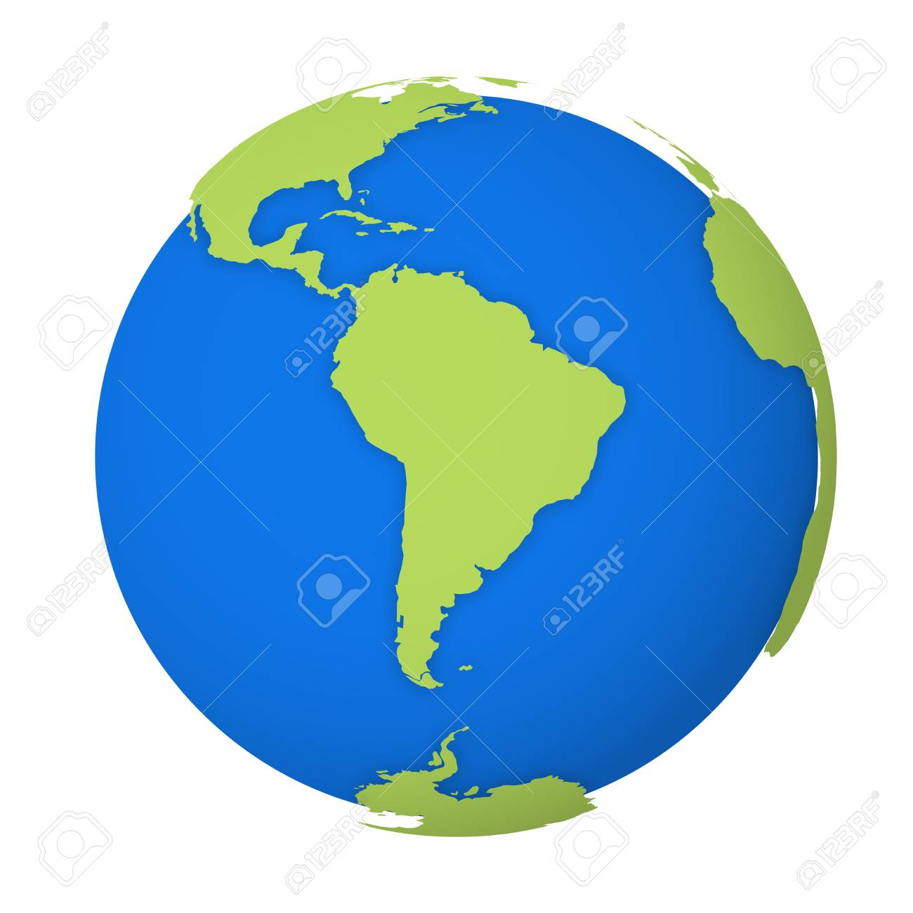 Natural Earth globe. 3D world map with green lands dropping shadows on blue seas and oceans. Vector illustration. - 120960377
