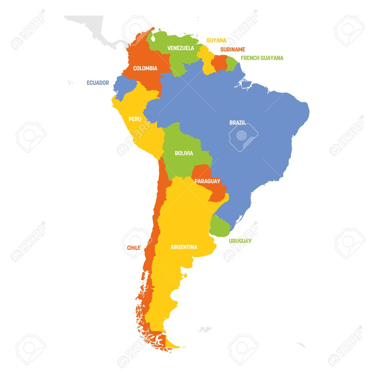 South America Region. Map of countries in southern America. Vector..