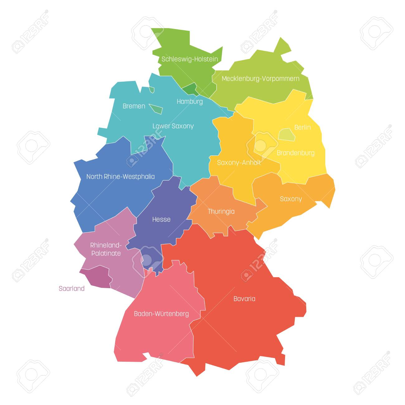 States Of Germany Map Of Regional Country Administrative Divisions Royalty Free Cliparts Vectors And Stock Illustration Image 123248215