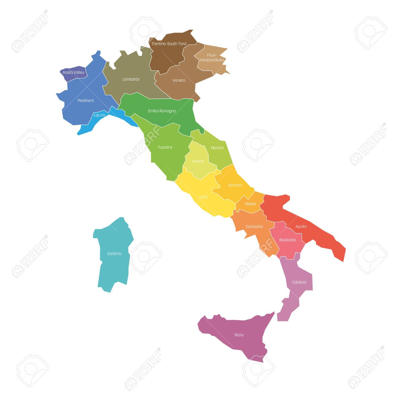 Italy Map Of Regions.Regions Of Italy Map Of Regional Country Administrative Divisions