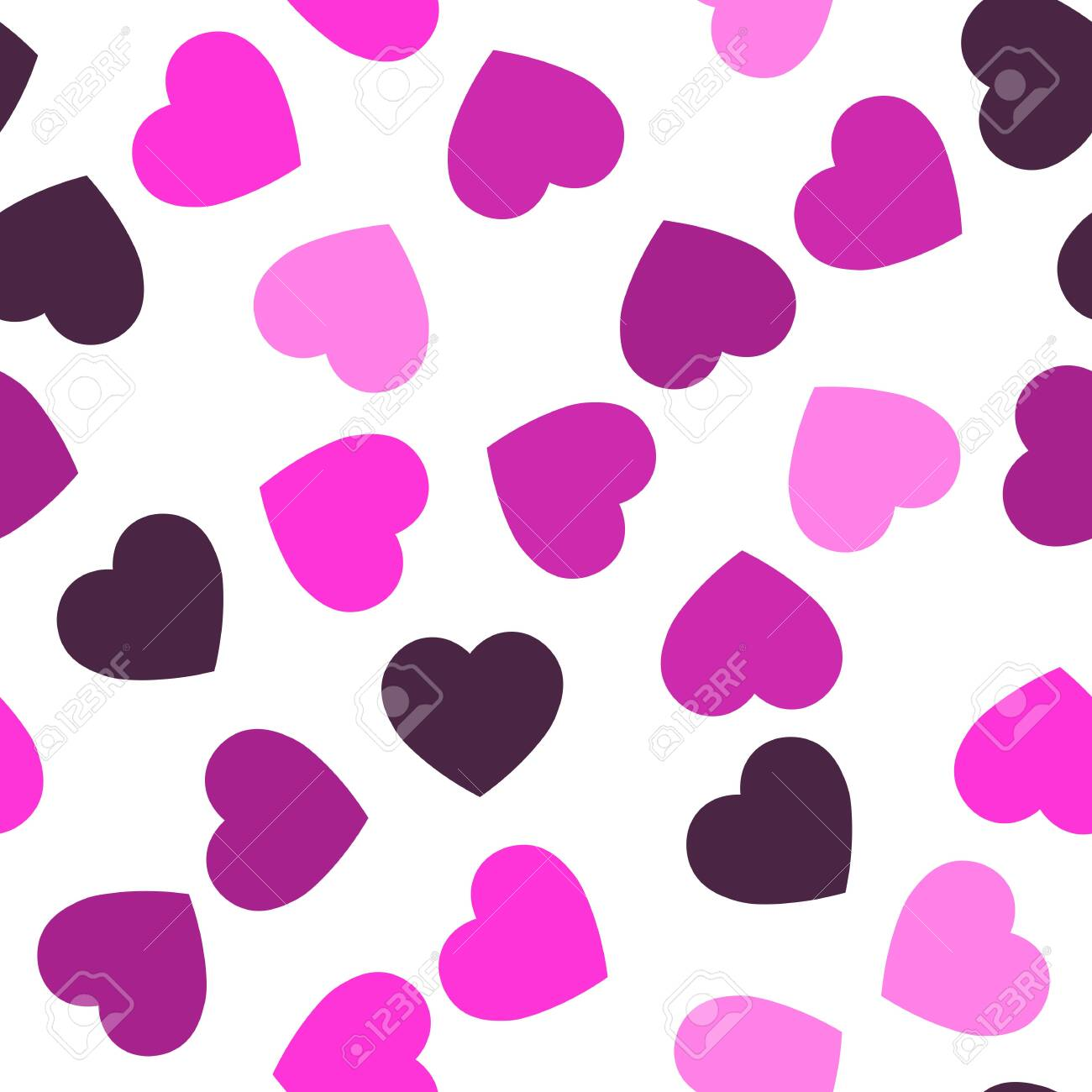 Pink hearts seamless pattern. Random scattered hearts background. Love or Valentine theme. Vector illustration. - 122745230