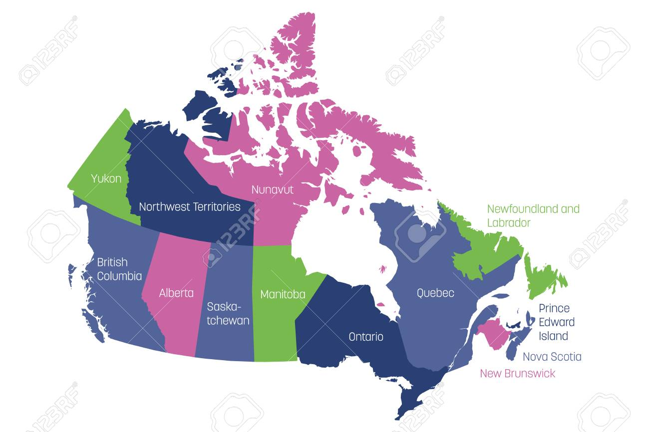 Map Of Provinces Of Canada.Map Of Canada Divided Into 10 Provinces And 3 Territories Administrative