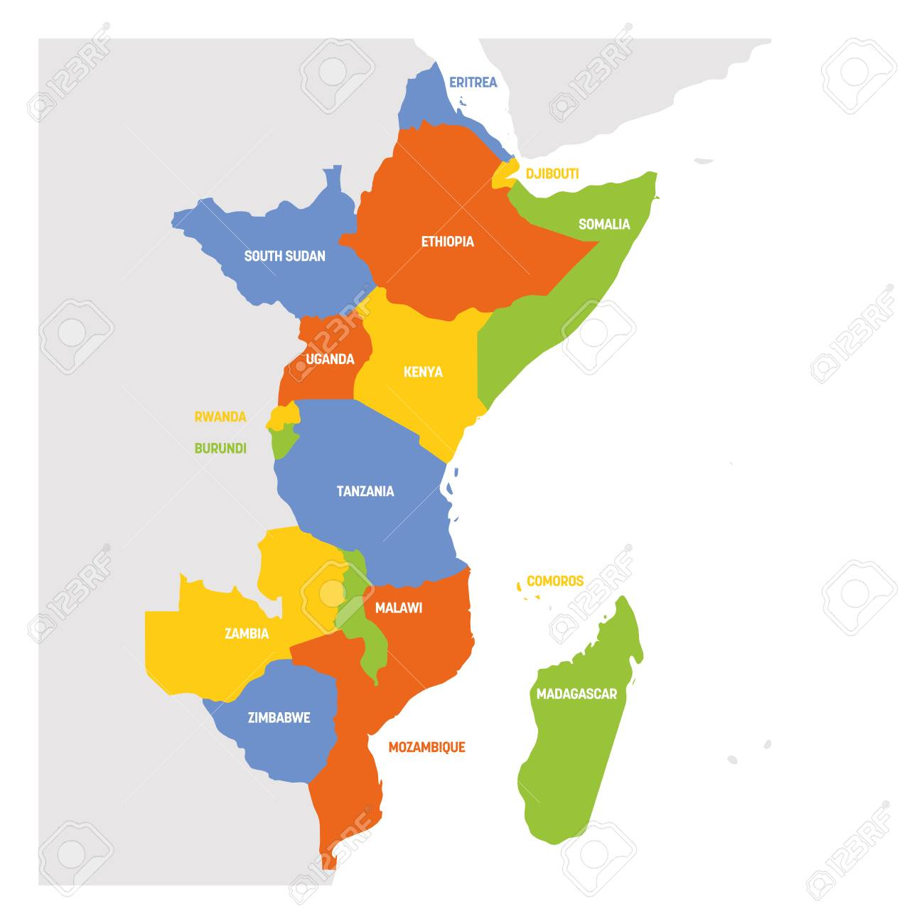 Map Of Eastern Africa Countries.East Africa Region Map Of Countries In Eastern Africa Vector