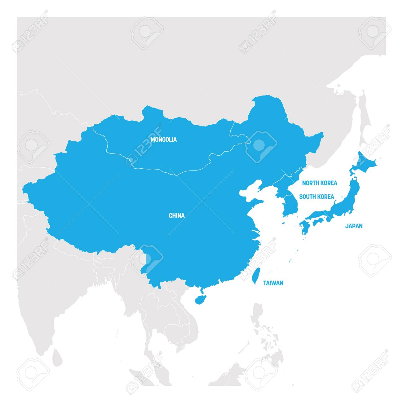 East Asia Region. Map of countries in eastern Asia. Vector illustration. - 123249010