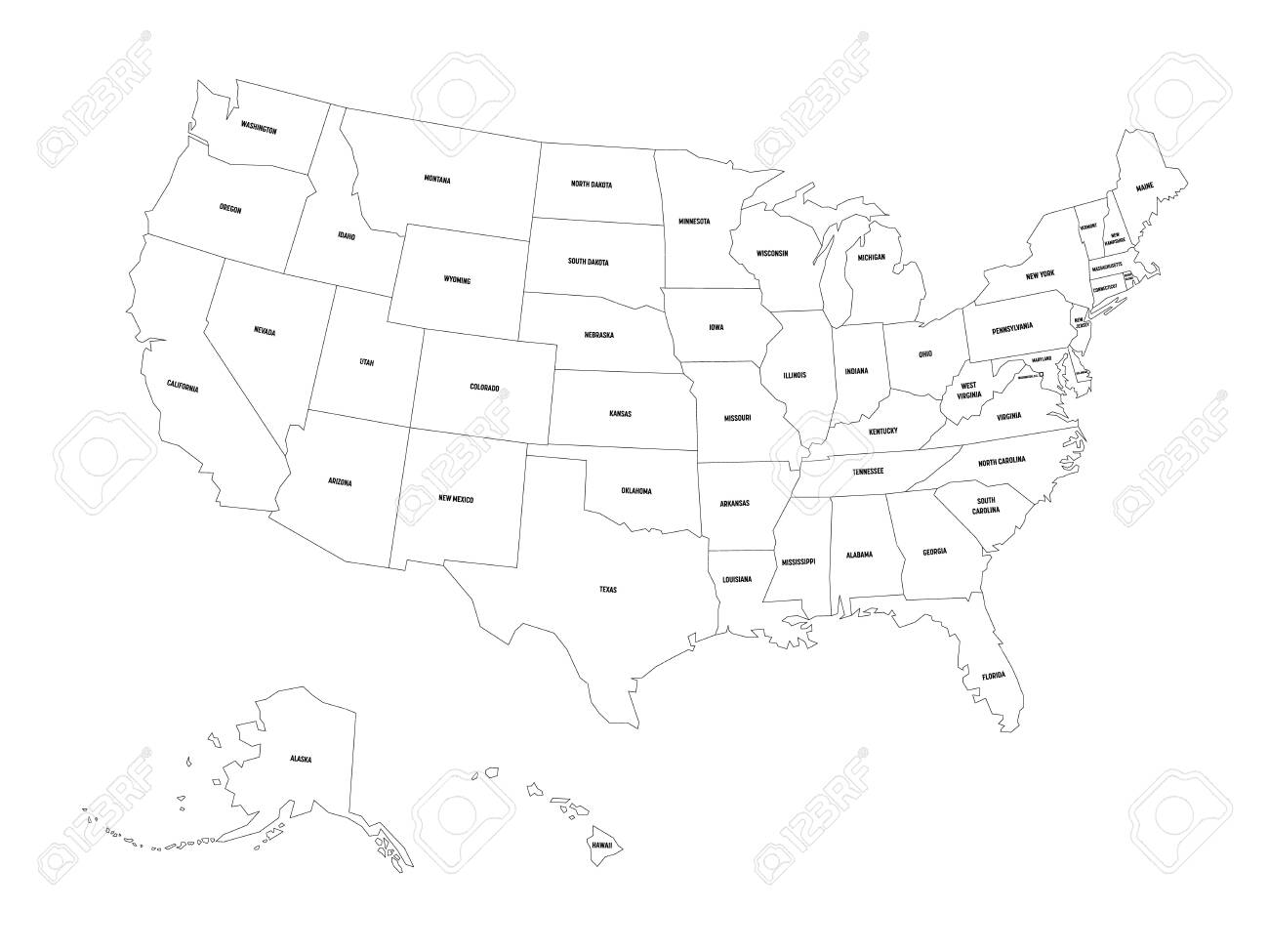 black and white map of united states Political Map Of United States Od America, USA. Simple Flat Black
