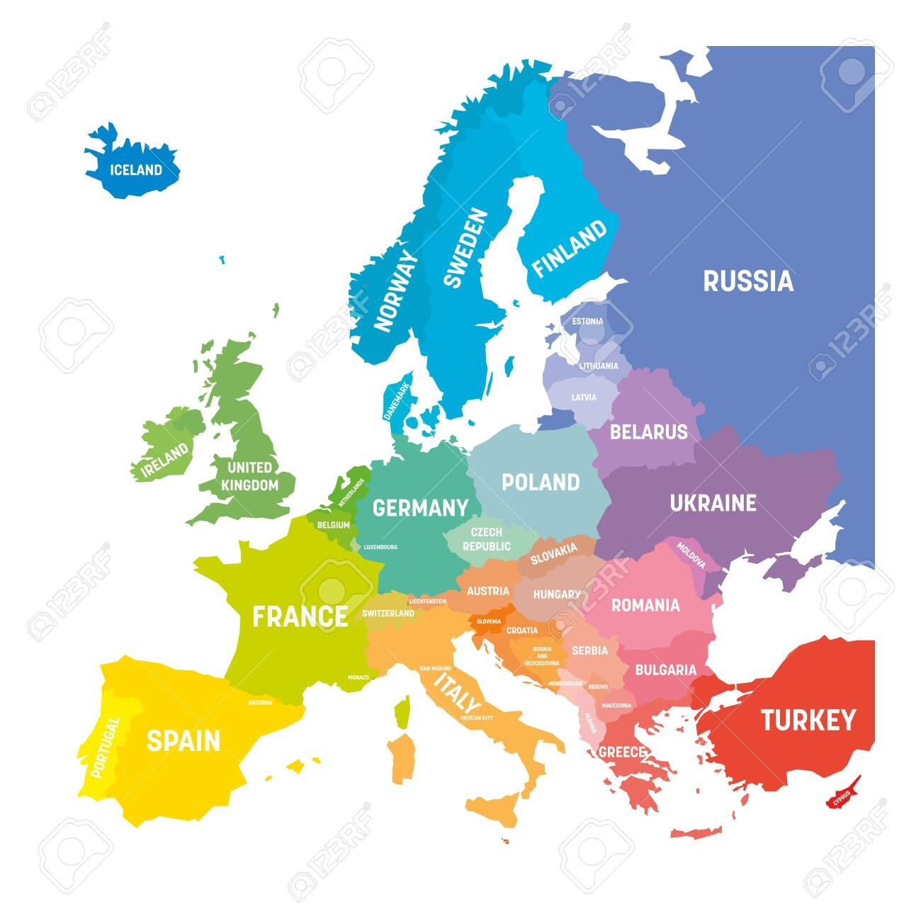 Map of Europe in colors of rainbow spectrum. With European countries..