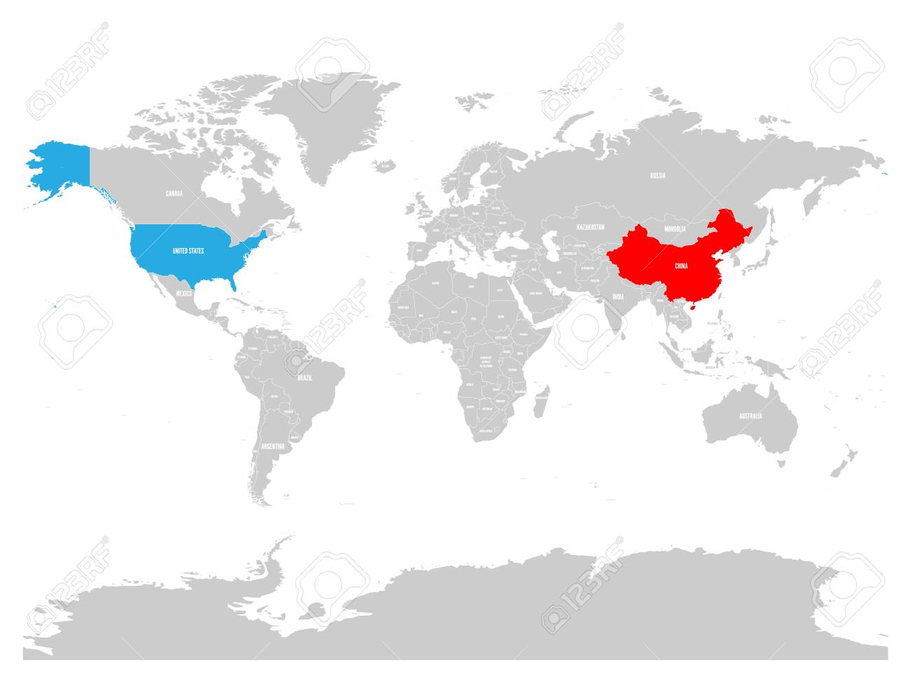 Us To China Map United States And China Highlighted On Political Map Of World