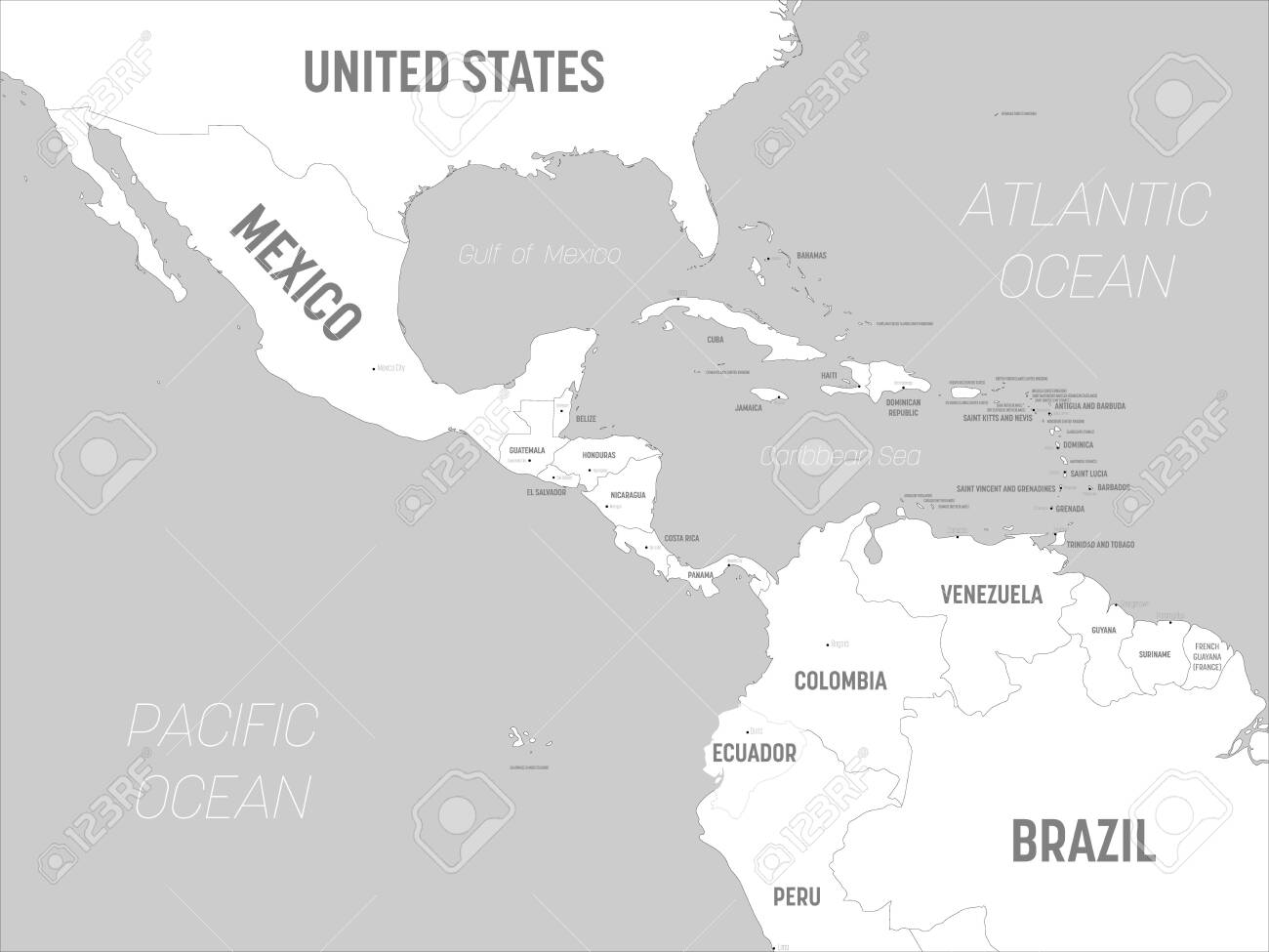 Picture of: Central America Map White Lands And Grey Water High Detailed Royalty Free Cliparts Vectors And Stock Illustration Image 142021042