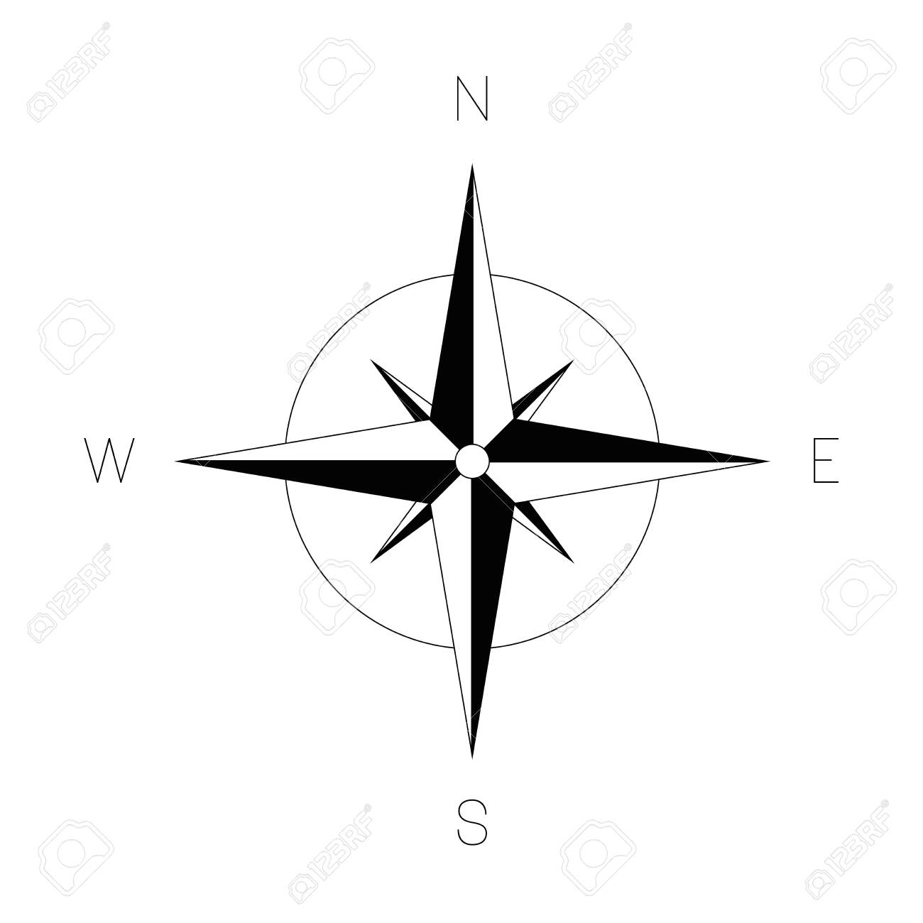 Compass rose - nautical chart. Travel equipment displaying orientation of world directions - north, east, south and west. Vector illustration. - 141121999