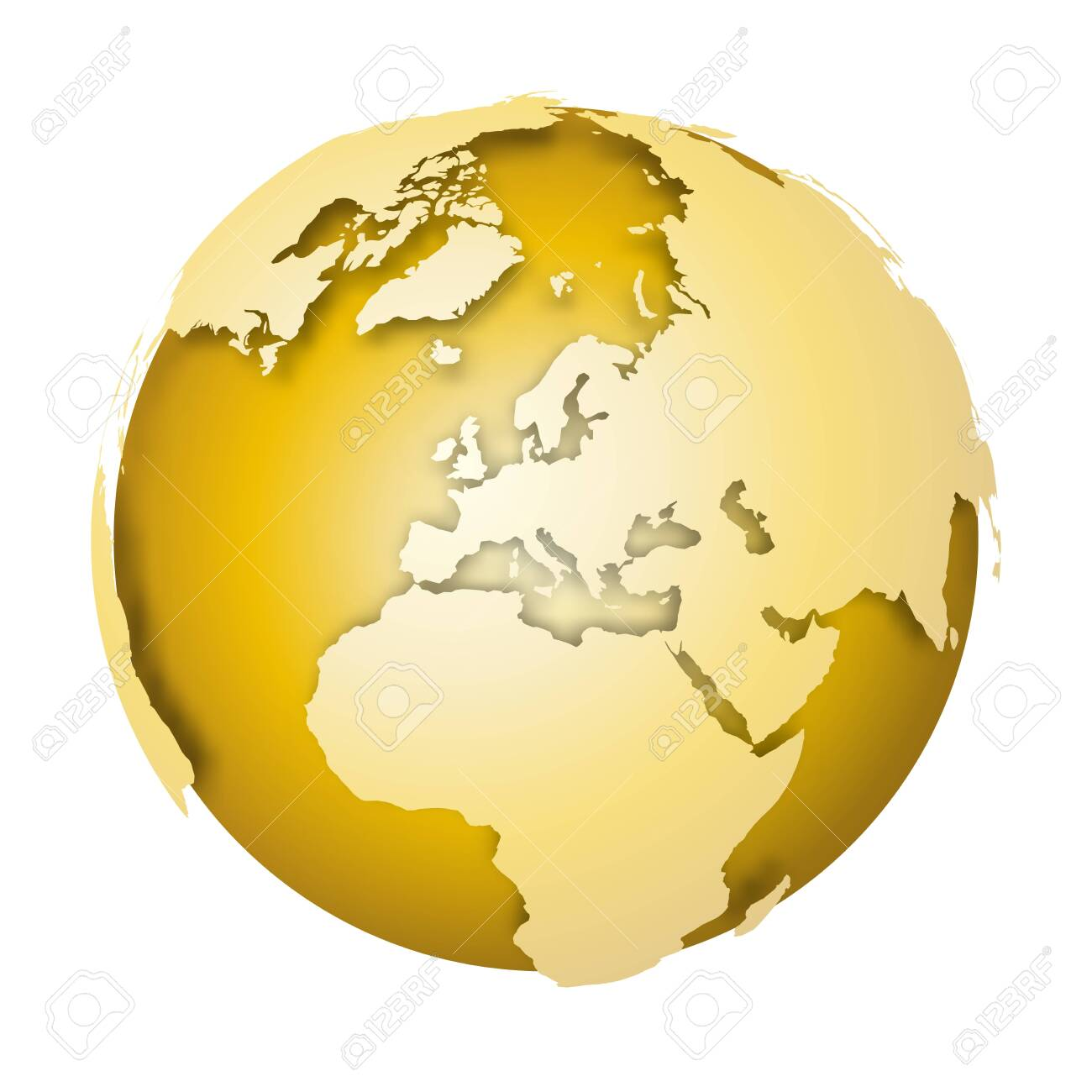 Earth globe. 3D world map with metallic lands dropping shadows on gold surface. Vector illustration. - 143036147