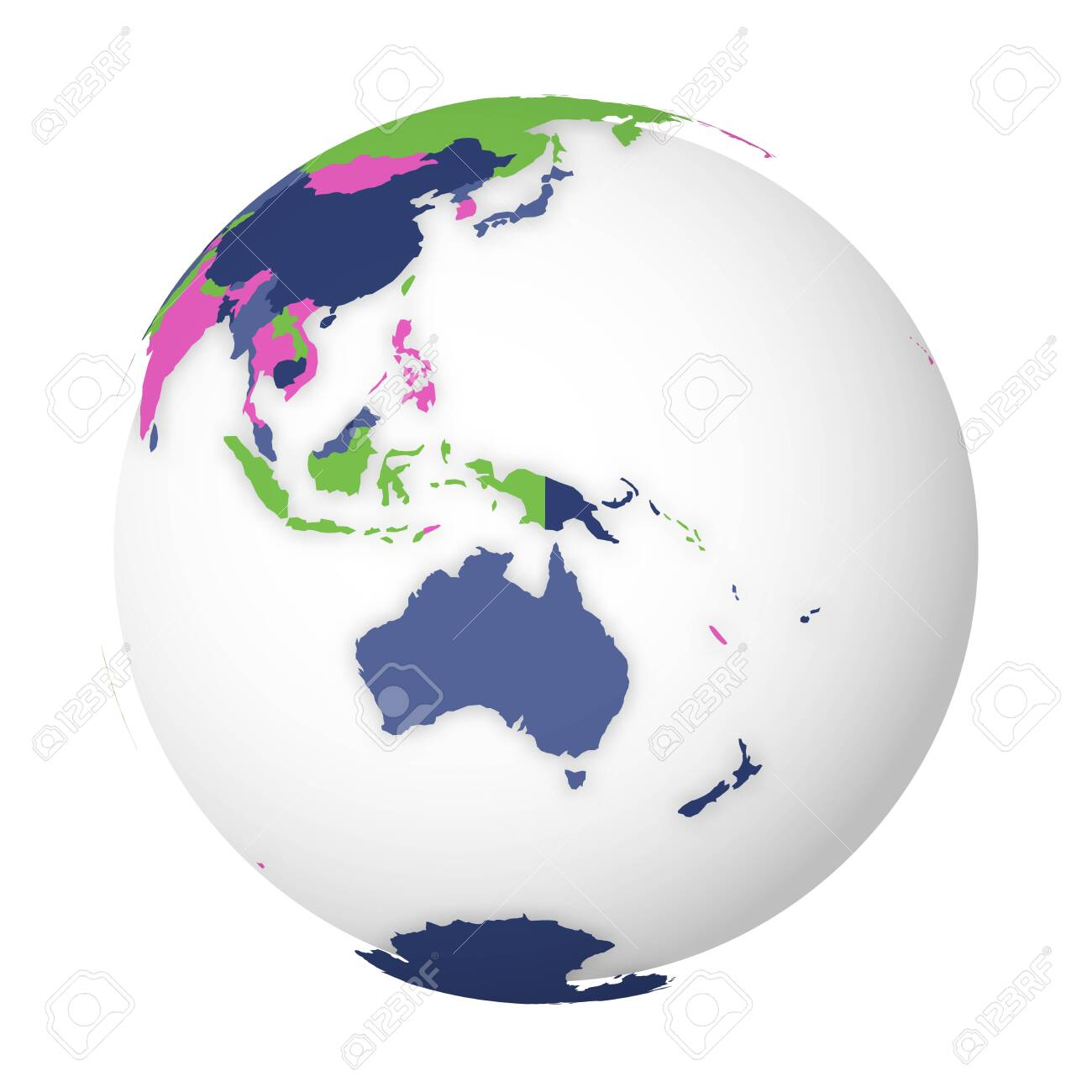Blank political map of Australia. 3D Earth globe with colored map. Vector illustration. - 142327793