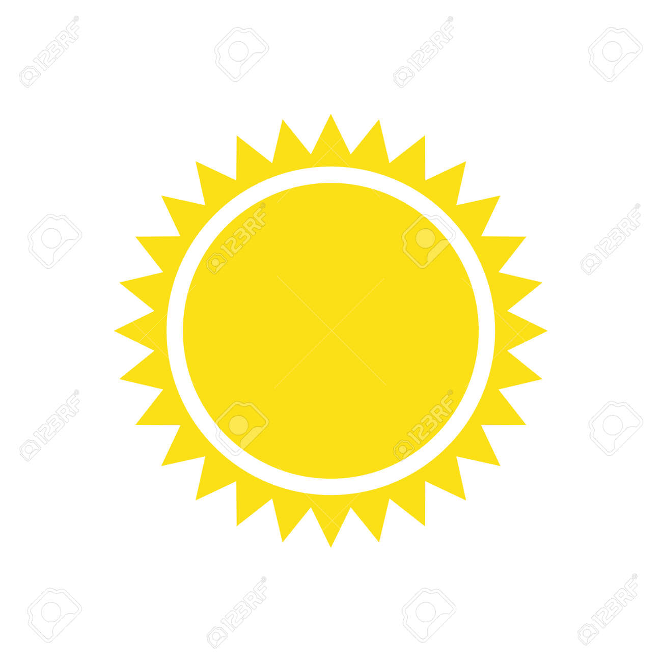 Yellow sun simple flat icon - 167363169