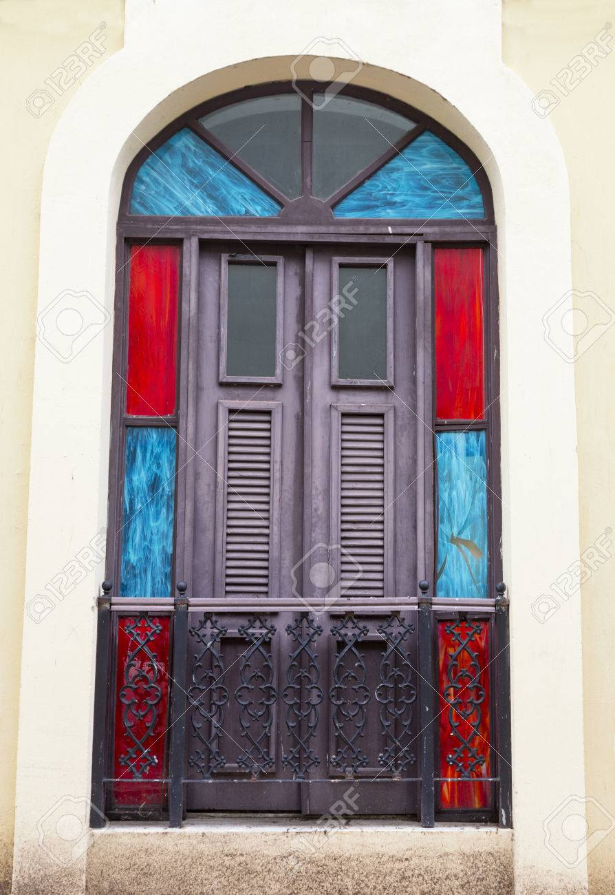 Encantadora Y Antigua Puerta De La Terraza Española Con Un Llamador De La Puerta De San Juan Puerto Rico