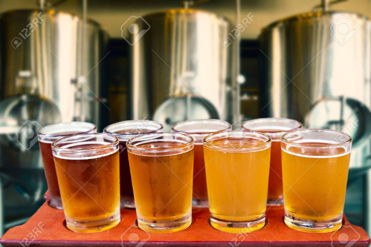 beer tasting beer flight of eight glasses of craft beer on a serving board with