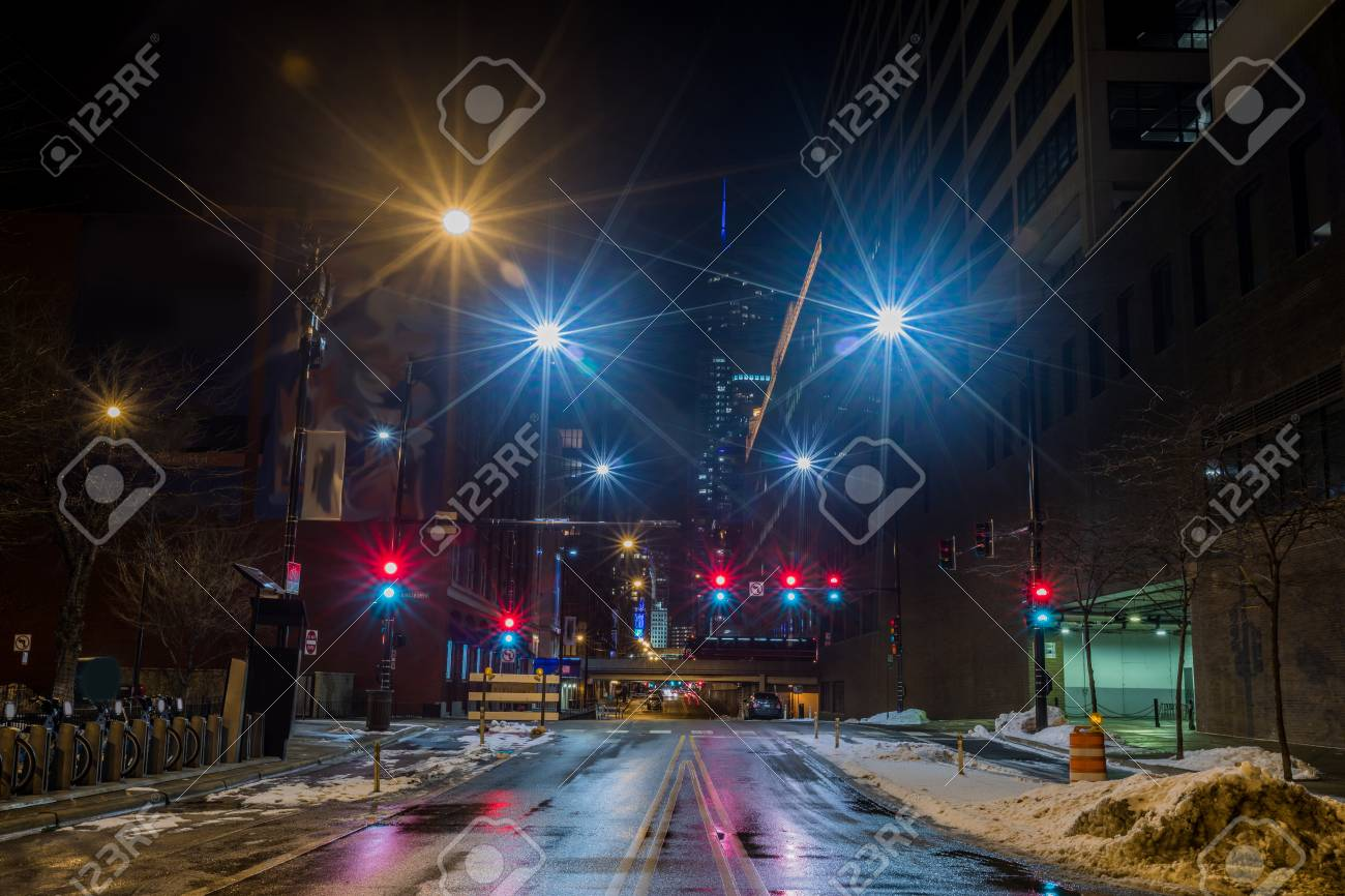 Chicago downtown city street view at night with traffic lights - 97057301
