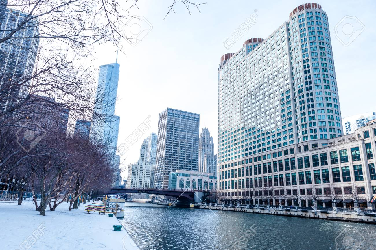 Chicago downtown street scene by the river on a winter day - 97057302