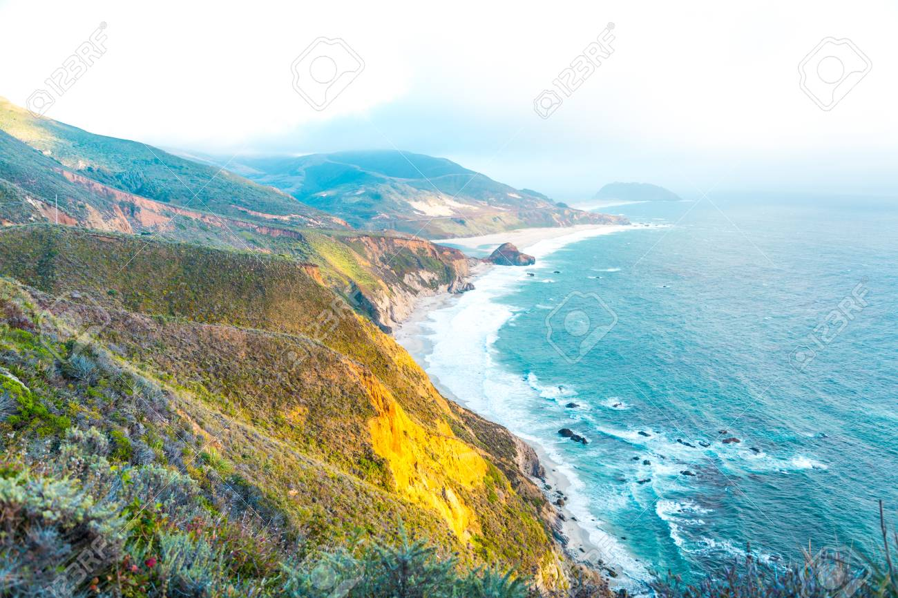 Beautiful Pacific Ocean coastline in Big Sur, California - 97073025