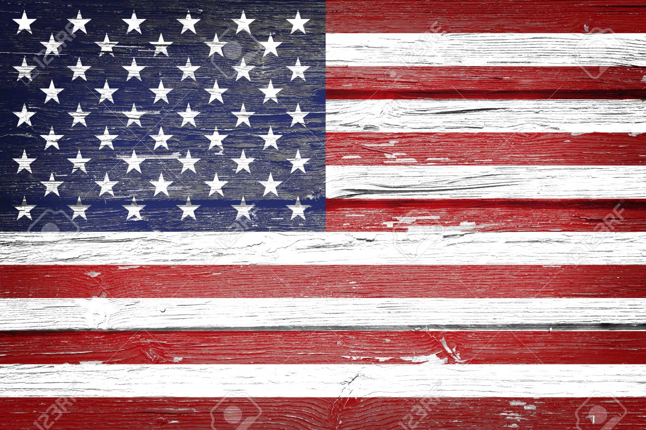 American flag with vintage look on grunge wooden background - 97221290