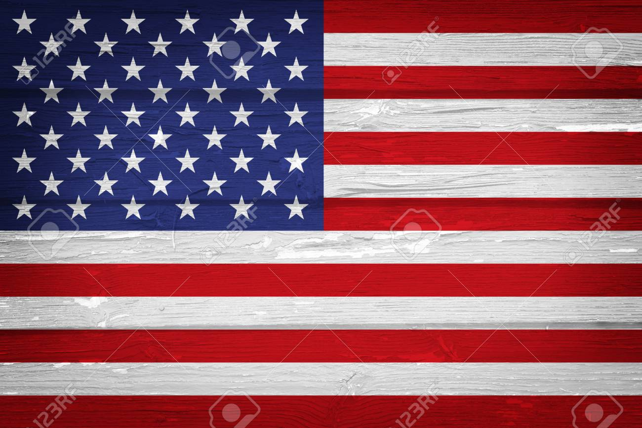 American flag with vintage look on grunge wooden background - 97326207
