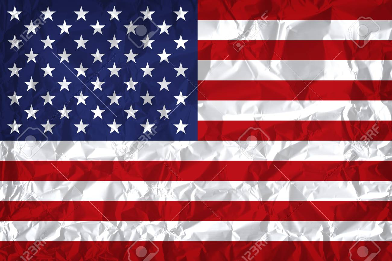 USA flag with vintage look on wrinkled paper background - 97326208