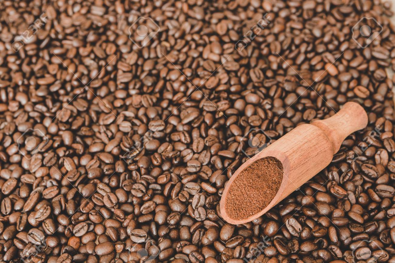 Wooden scoop with ground coffee on roasted coffee beans background - 97431644