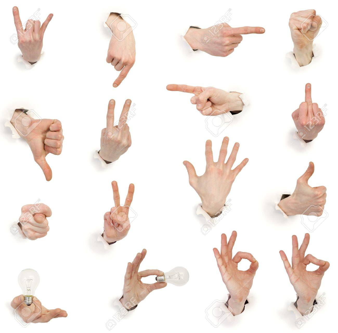 Sixteen gestures male hands through white paper Stock Photo - 4180793