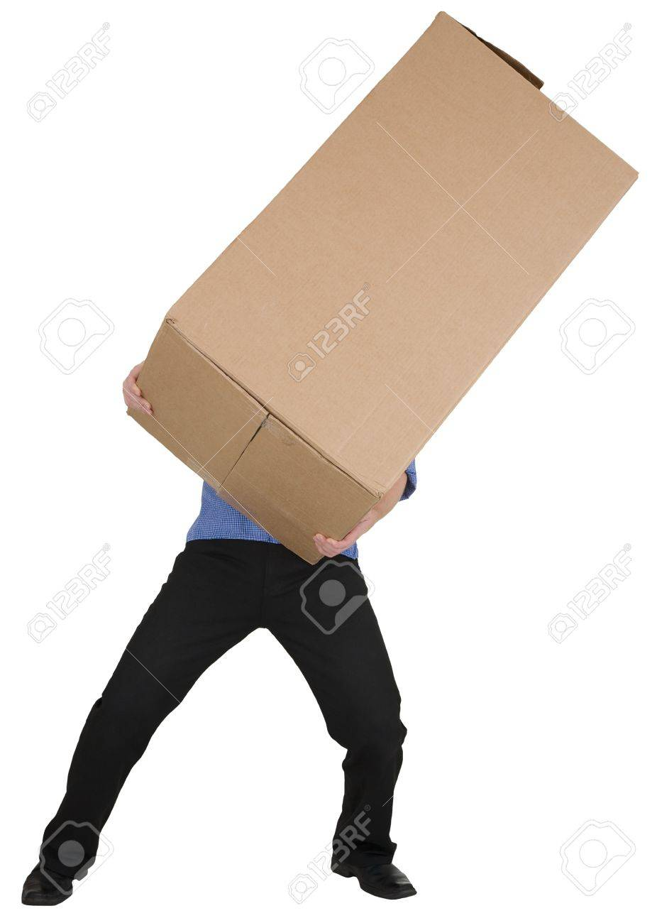 Man Holding On Hands Big Cardboard Box Stock Photo, Picture And ...