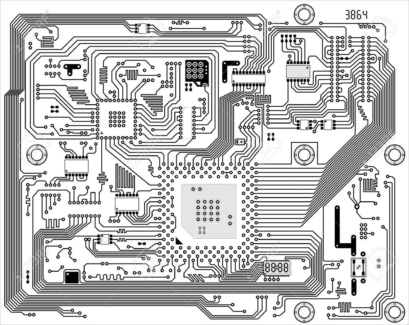 Hi-tech black and white industrial electronic vector background - 4948725
