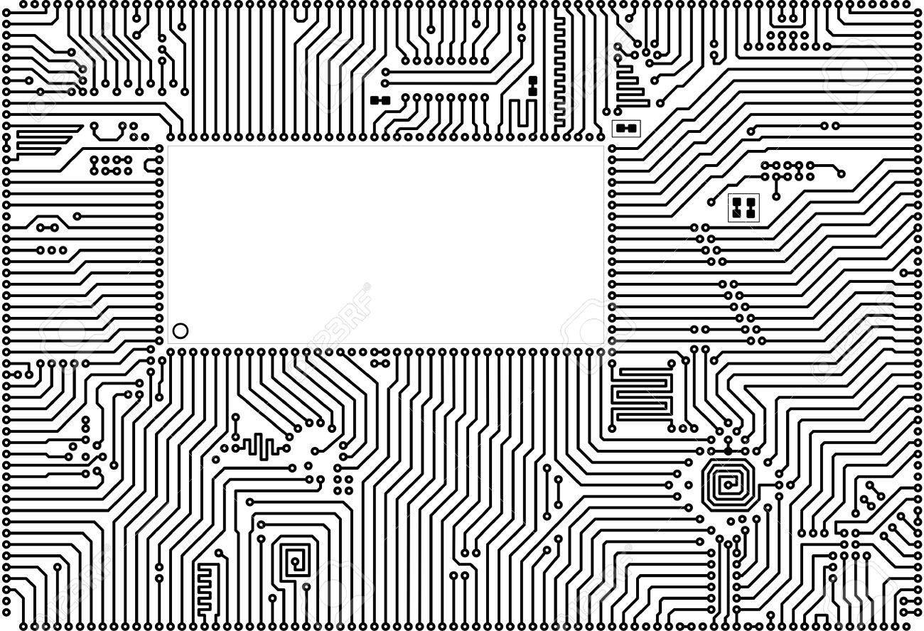 Hi Tech Vector Circuit Board Back White Blank Frame Royalty Free Stock 4988414