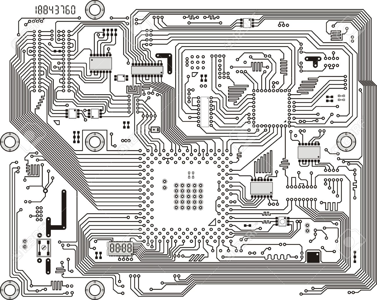 Electronic Industrial Modern Circuit Board Vector Background ...