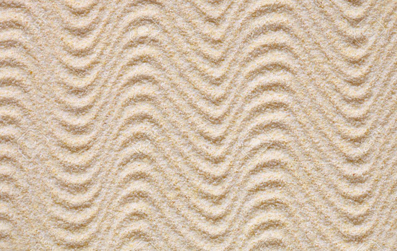 Texture from yellow sand covered with waves - 6051395