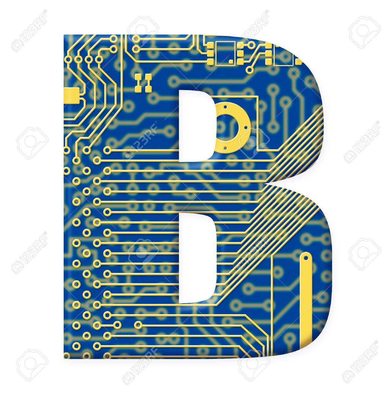 One letter from the electronic technology circuit board alphabet on a white background - B Stock Photo - 6353927