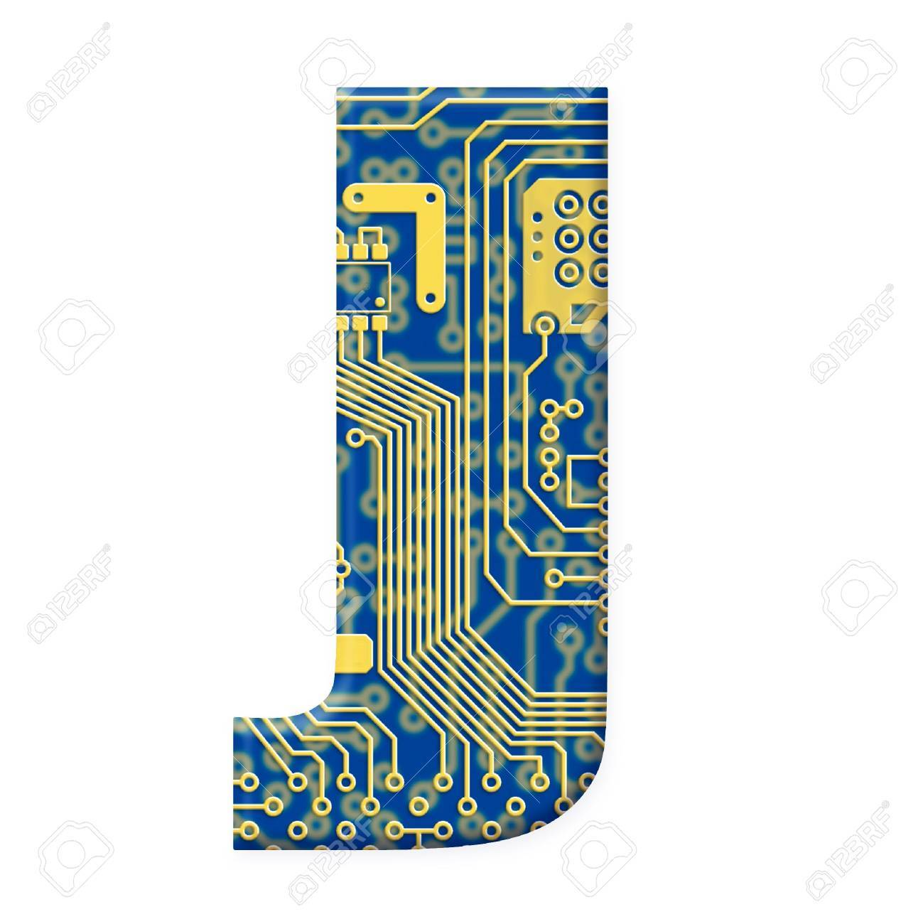 One letter from the electronic technology circuit board alphabet on a white background - J Stock Photo - 6353864