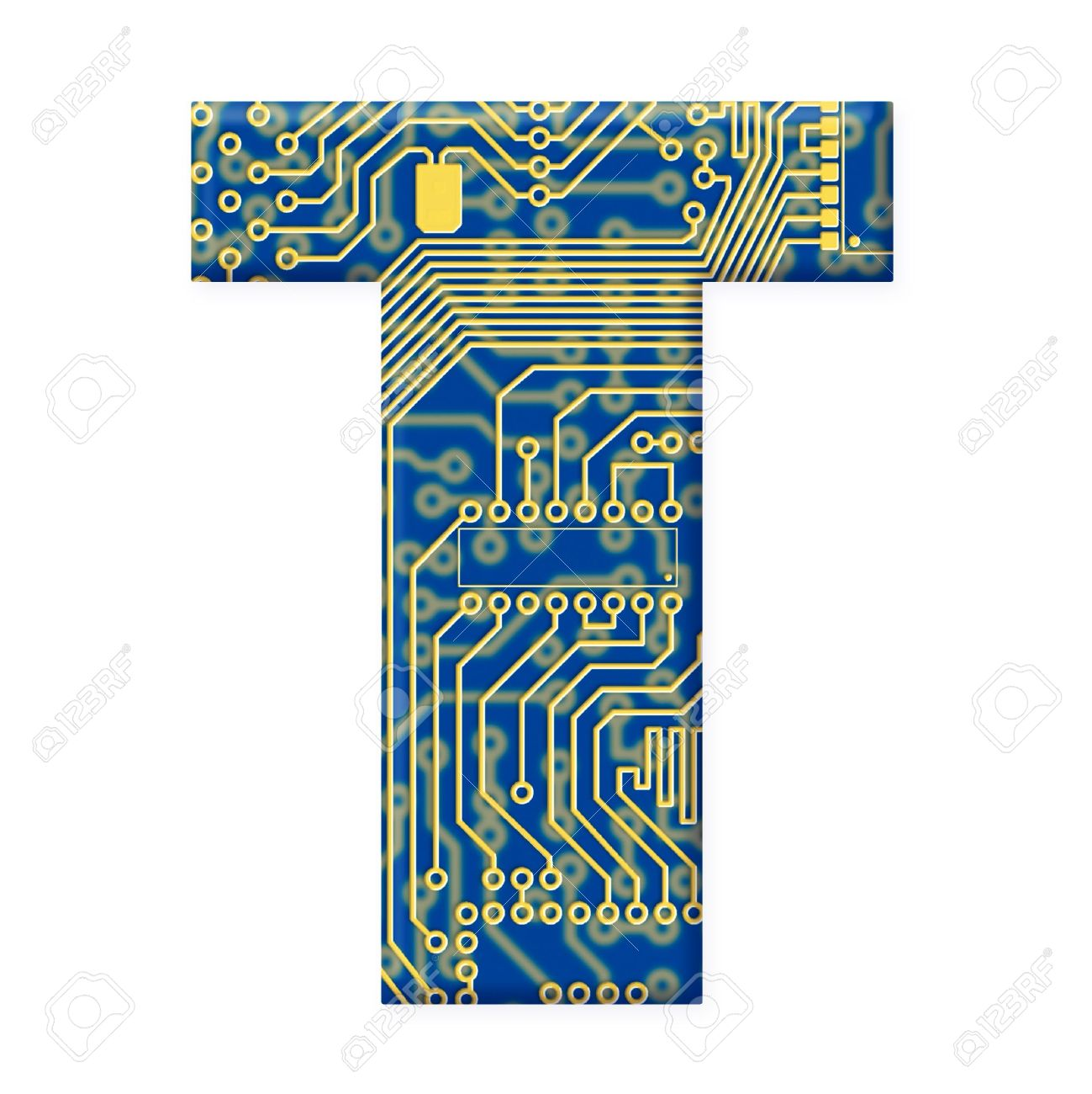 One letter from the electronic technology circuit board alphabet on a white background - T Stock Photo - 6353985