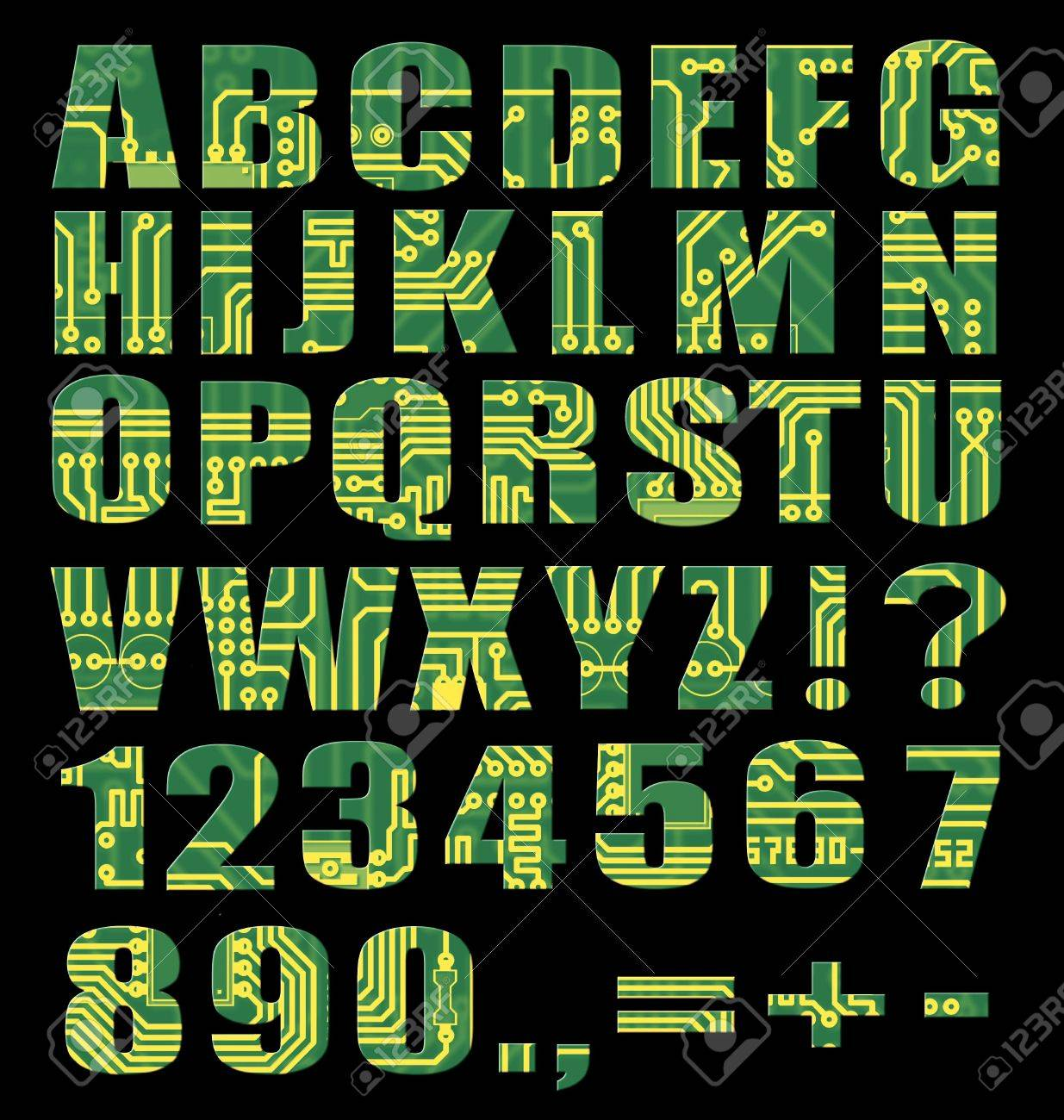 Electronic Alphabet With Letters And Digits From Circuit Board ...