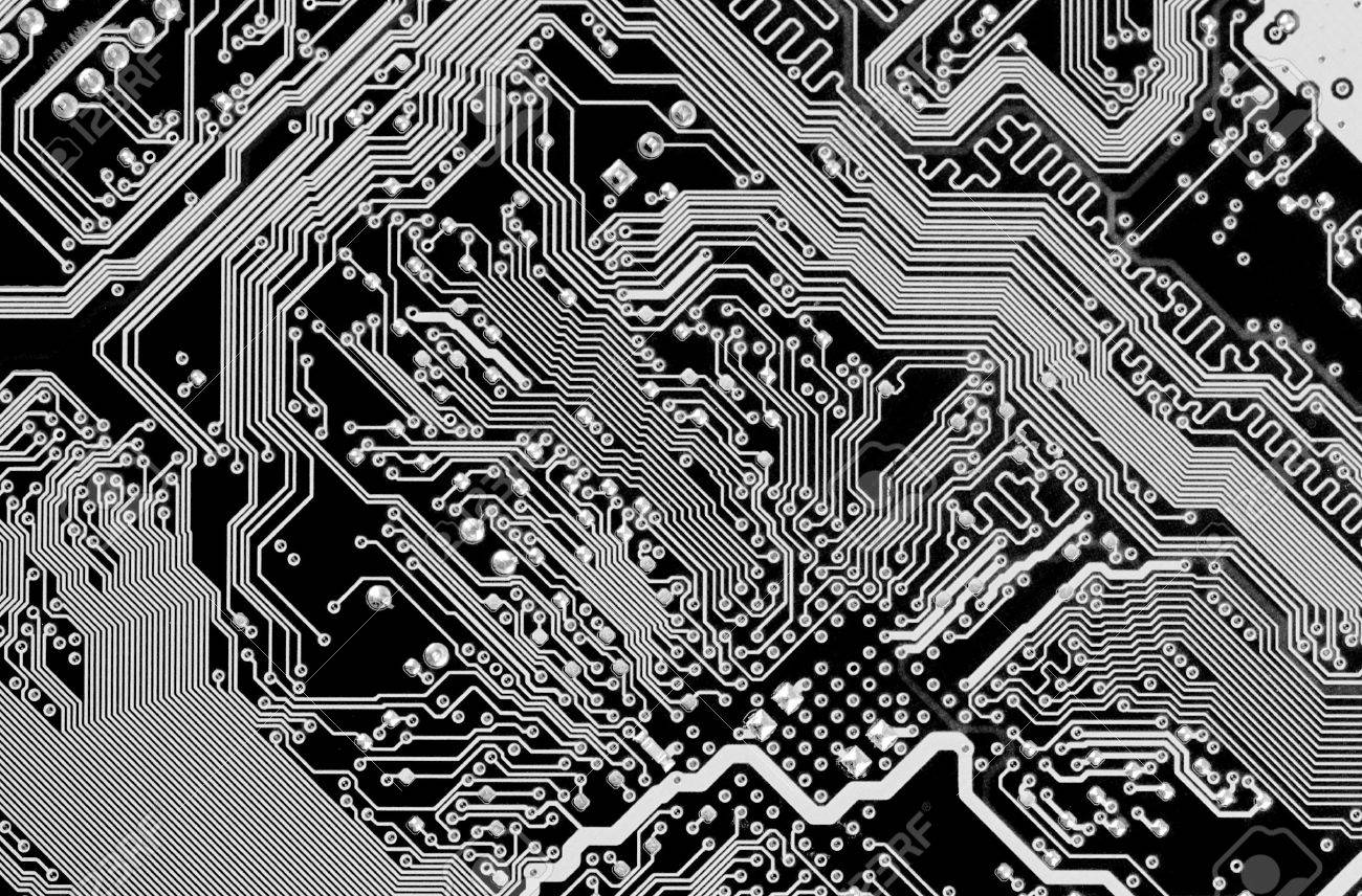 Circuit board electronic black and white background Stock Photo - 6536569