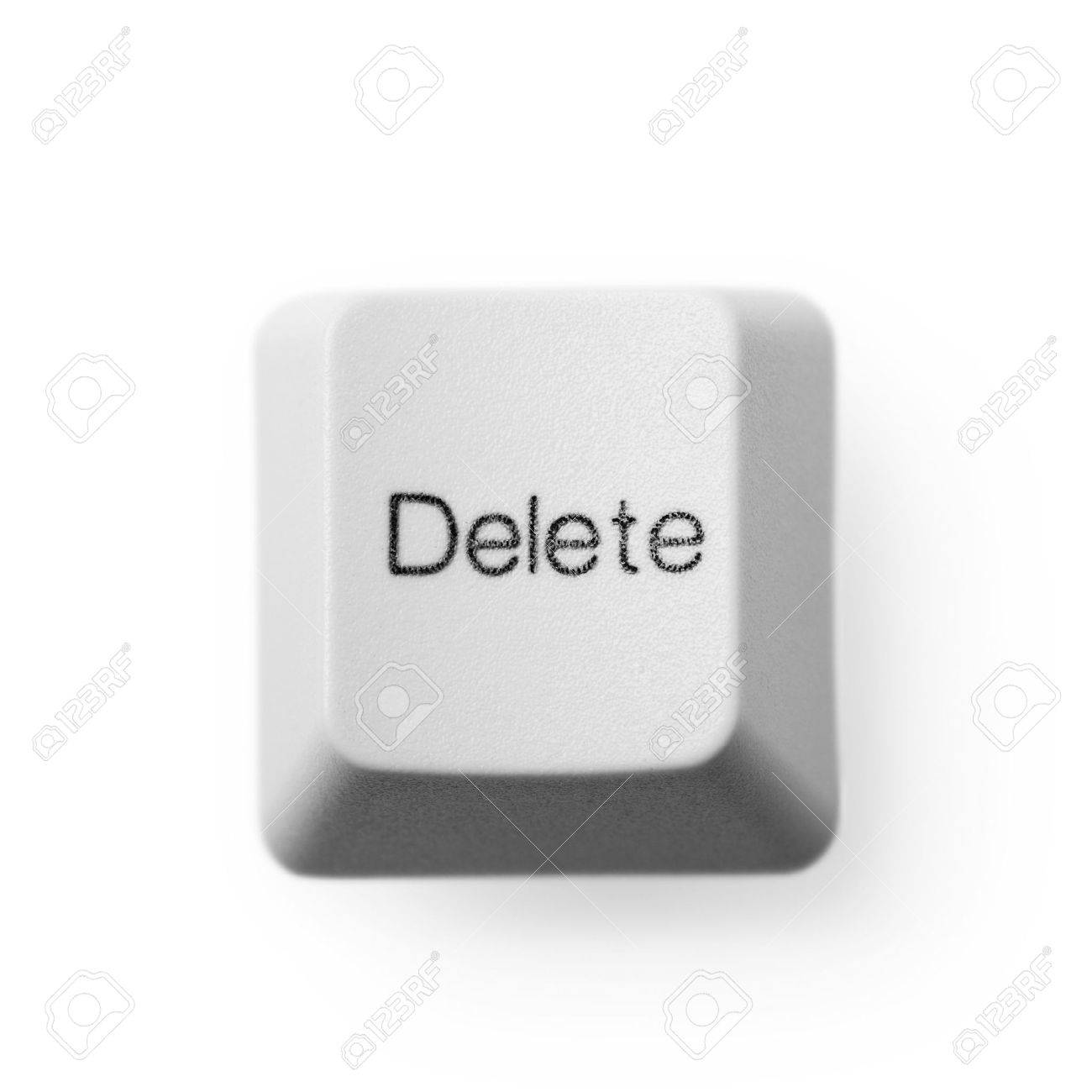 Computer Button Labeled - Delete, On A White Background Stock ...