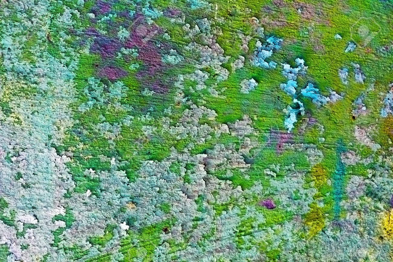 Uneven mangy old wall with green paint - the background Stock Photo - 7313347