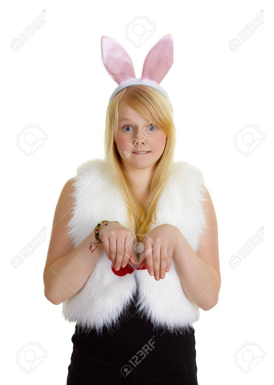 Funny young girl with a pink rabbit ears isolated on white Stock Photo - 8460821
